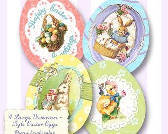 Easter Egg Vintage Label Digital Download Printable Tags Scrapbook Collage Sheet Cards