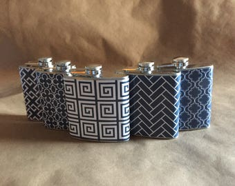 Navy Blue and White Print Flasks for Sorority Sisters, Bridesmaids or ANY 5 Print Design Stainless Steel 6 ounce Hip Flasks