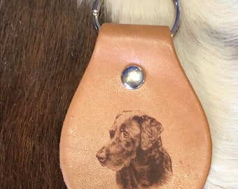 Laser Engraved Chocolate Lab Leather Keychain