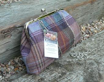 SALE   PRICE DROP  Kiss lock Purse, clutch purse, evening purse, wool tweed clutch bag, tweed evening bag.