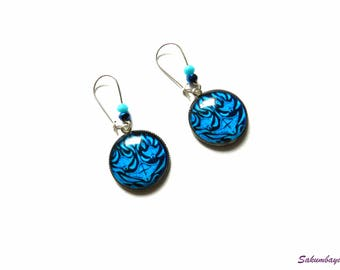 earrings, manta ray, tribal, cabochon, blue, beads, crystal