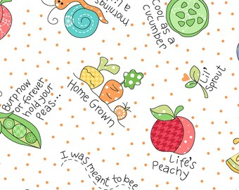 Lil' Sprout Flannel Too! White 8231-W by Kim Christopherson for Maywood Studio Cotton Flannel Fabric Yardage