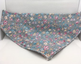 Grey Floral Medium Dog Bandana