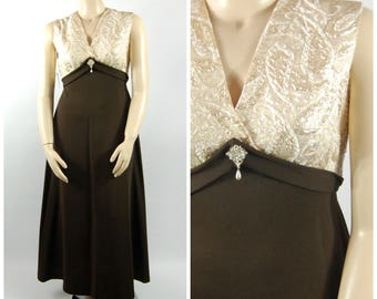 1970s Formal Maxi Dress // 32 34 waist // Chocolate Brown and Gold Ivory Brocade - Empire Waist Volup - Evening Maxi Late 1960s 70s