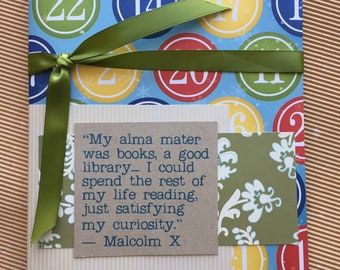 Quotebook - Numbers Pattern -  Malcolm X  Quote - Reading Journal - Diary for Readers
