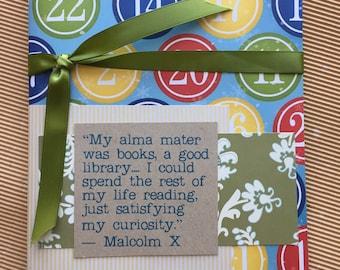 Quotebook - chiffres Pattern - Malcolm X Quote - lecture de Journal - Journal intime pour les lecteurs