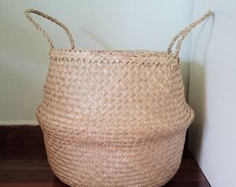"Natural Seagrass Belly Basket / ""Olivia Natural"" / Panier Boule / Storage Basket / Laundry Basket / Planter Basket / Toy Storage / Beach Bag"