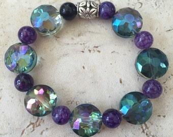 PRICE CUT!!!!  Amethyst and Crystal Discs - stretch bracelet - handmade