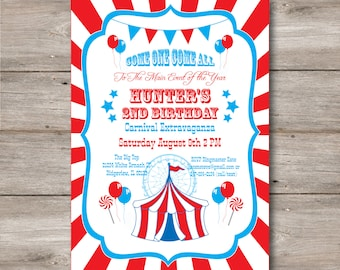 Carnival Invitation with Editable Text, Carnival Party Invitation, Print at Home, DIY Carnival Birthday Invitation, Instant Download