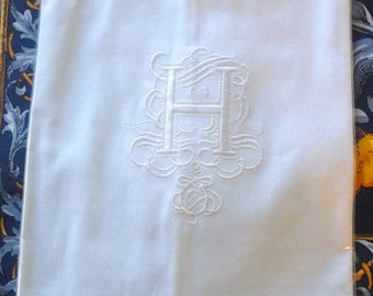 "Embroidered ""H"" Monogram Guest Towels with  Galucci Border"