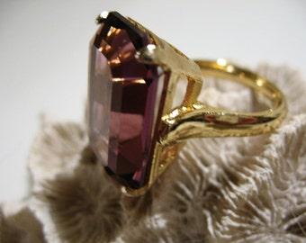 Large Vintage Amethyst Glass Ring, Size 6 1/2