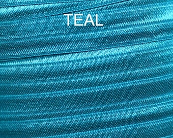 "Teal 5/8"" Fold Over Elastic/DYI party favors/Pony Tail/Mermaid/Under the Sea"