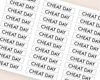 30 black cheat day plan stickers, header stickers, transparent clear stickers, planner stickers, fitness sticker eclp filofax happy planner
