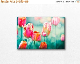 ON SALE flower photography floral canvas art 12x12 24x36 fine art photography canvas print wall decor nature canvas tulip canvas wrap red pi