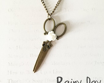 Scissor Charm Necklace with White Rose