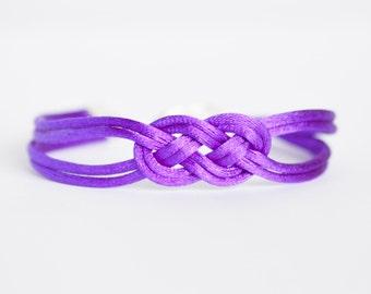 Shiny purple double infinity knot nautical rope bracelet made with shiny nylon cord
