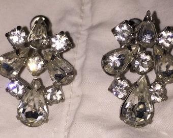 1940s Rhinestone Cluster Earrings Statement Earrings Stunning Brilliant Vintage Rhinestone Screw Backs