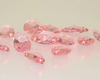 22 X 13 mm Light Rose Swarovski Crystal Pendant - 3.00 each - Bin #14