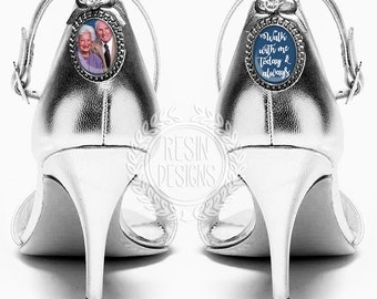 Wedding Shoe Charms, Personalized Bridal Charms, Custom Brooch, Memorial Shoe Charm, Something Blue, Picture Photo Charms, Photo Charms