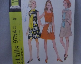 Vintage McCall's Pattern 9754 Misses Dress and Scarf or Sash Misses Size 16 Factory Fold