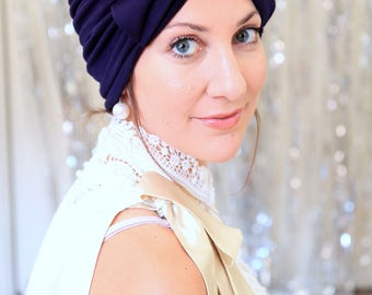 Navy Blue Turban with Bow - Fashion Turbans for Women - Full Turban Hairwrap - Lots of Colors