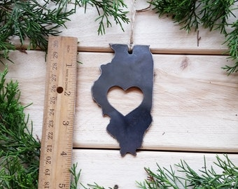 Illinois State Christmas Ornament Rustic Raw Steel Personalize Engrave Love IL Metal Holiday Decoration Stocking Stuffer House Warming Gift