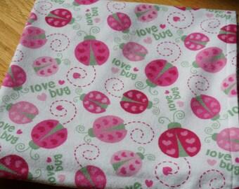 Baby Receiving Blanket, Ladybug Blanket, Love Bug Blanket, Pink Heart Ladybugs, Flannel Blanket, Swaddle Blanket, Large Blanket, Pink
