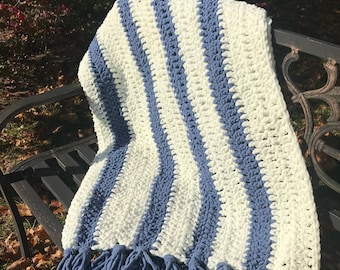 Blue & White Striped Throw Blanket