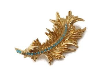 Ciner Gold Tone Leaf Brooch, Vintage Turquoise Beaded Curly Leaf Pin, Signed Designer Gift for Her