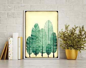 """Large Grungy Feathers Art Print 24""""x34"""""""