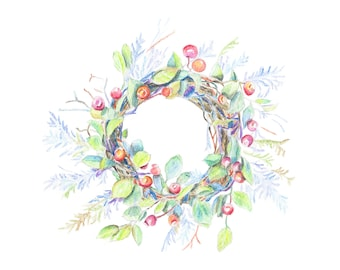 Wreath with berries original watercolor painting, summer wreath