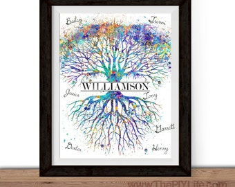 Home Decor | Watercolor Tree of Life Family Tree Wall Art, Gift, Printed Art, Digital Art, Office, Free Shipping Black Friday Sale