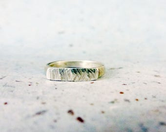 Sterling silver textured bar ring, Handmade sterling silver organic textured bar ring