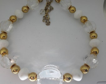 Clear Lucite with Gold and White Accents Vintage Necklace
