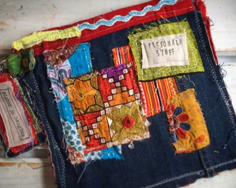 Upcycled Womens Purse, Upcycled Zip Pouch, Assemblage Purse, Zip Pouch, Coin Purse,