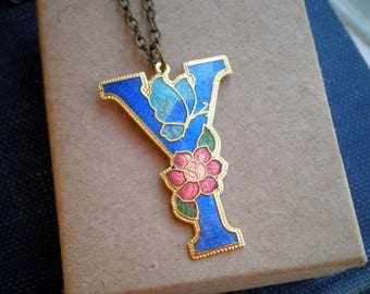 Vintage Letter Y Floral Cloisonne Necklace - Y Initial Pendant - Personalized Jewelry Gift - Enamel Butterfly Garden Long Chain Necklace