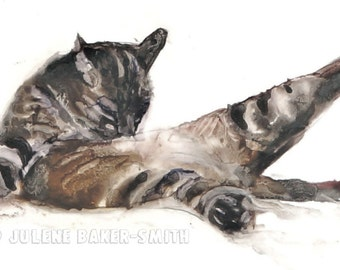 Cat, Tabby Cat Art Print, Bathroom Art Decor, Powder Room Art