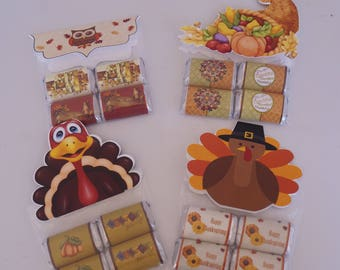 Thanksgiving Bag Topper and Chocolate Set, Thanksgiving Chocolate Set, Thanksgiving Guest Favors, Thanksgiving Table Favors. Set of 10
