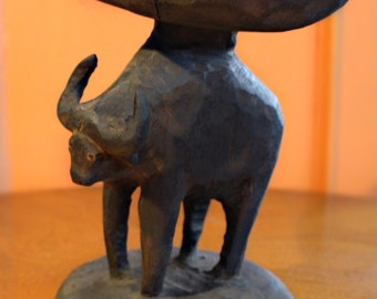 1920's Antique Carved Wood Ox - Tribal South Pacific