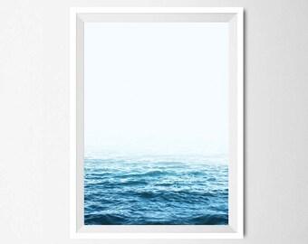 Ocean Wall Art, Minimalist Home Decor, Blue Sea Print, Ocean Photography, Printable Art, Instant Download