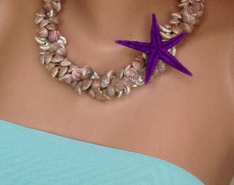 Beach Weddings ,Brides Jewelry, Bridesmaids Gift Necklace with sea shell and Purple StarFish