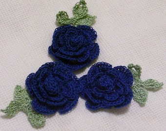 3 roses flowers royal/navy blue appliques scrapbooking sewn on home decor handmade embellishments