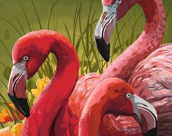 Naples, Florida - Flamingos - Lantern Press Artwork (Art Print - Multiple Sizes Available)