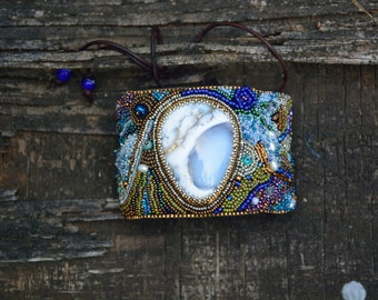 Bead embroidered cuff  one size fits all Graveyard agate cabachon buckskin