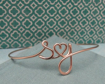 Two Lovers Bracelet in Rose Gold filled-custom 2 initials with heart in Wire