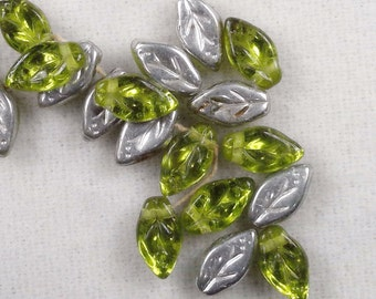 10 -  Green Czech Glass Leaves w/Silver Backing