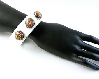 Bracelet leather DoubleBeads for size M - silver, white snaps