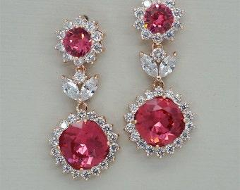 Hot Pink Earrings, Rose Gold Earrings, Bridal Earrings, Swarovski Crystal Jewelry for Brides, Red Wedding Earrings, Bridesmaids Gifts