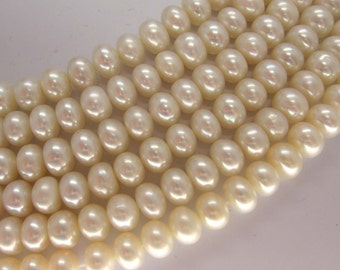 Full Strand White Freshwater Pearl Rondelle Beads 6-7x5-6mm