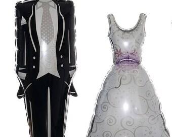 Tuxedo Balloon and Bridal Dress Balloon, Wedding Balloon